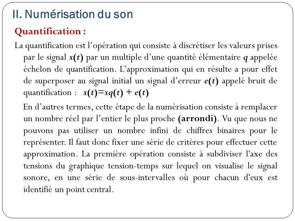 II. Numérisation du son Quantification : La quantification est l'opération qui consiste à discrétiser les valeurs prises par le signal x(t) par un mul