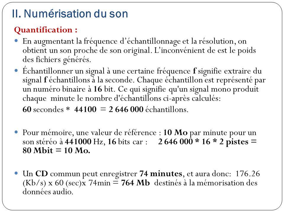 II. Numérisation du son Quantification : En augmentant la fréquence d'échantillonnage et la résolution, on obtient un son proche de son original. L'in