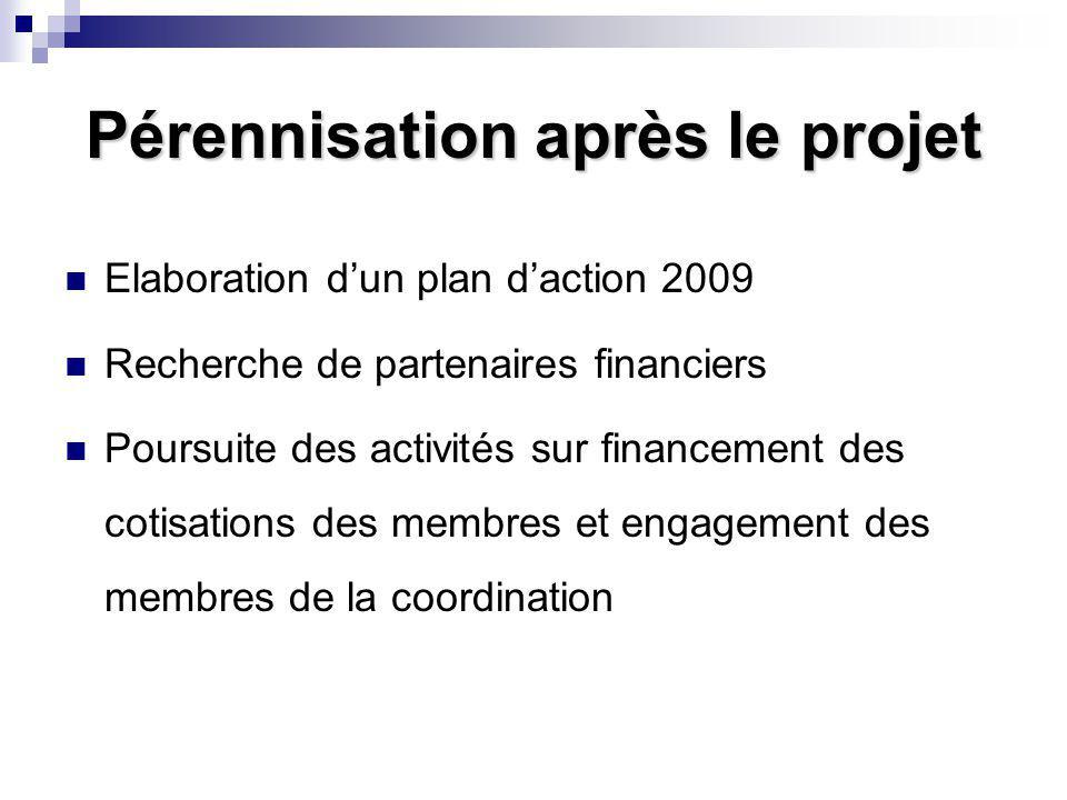 Pérennisation après le projet Elaboration d'un plan d'action 2009 Recherche de partenaires financiers Poursuite des activités sur financement des coti