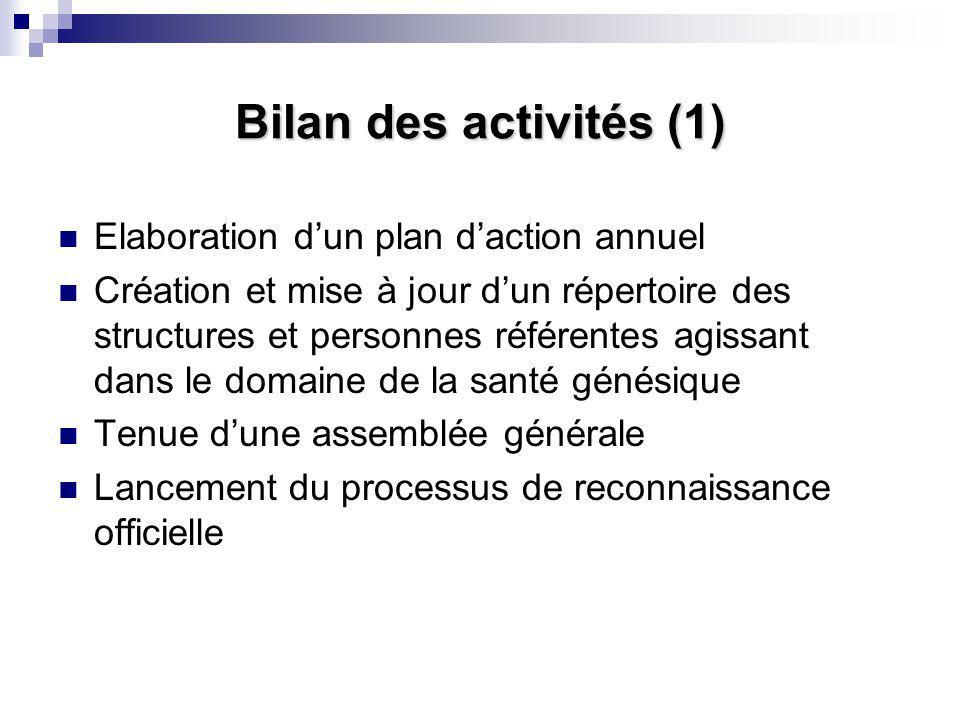 Bilan des activités (1) Elaboration d'un plan d'action annuel Création et mise à jour d'un répertoire des structures et personnes référentes agissant dans le domaine de la santé génésique Tenue d'une assemblée générale Lancement du processus de reconnaissance officielle