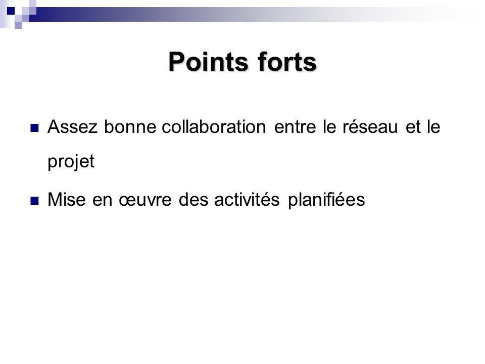 Points forts Assez bonne collaboration entre le réseau et le projet Mise en œuvre des activités planifiées