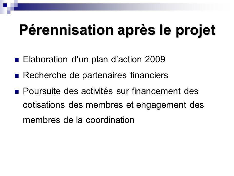 Pérennisation après le projet Elaboration d'un plan d'action 2009 Recherche de partenaires financiers Poursuite des activités sur financement des cotisations des membres et engagement des membres de la coordination