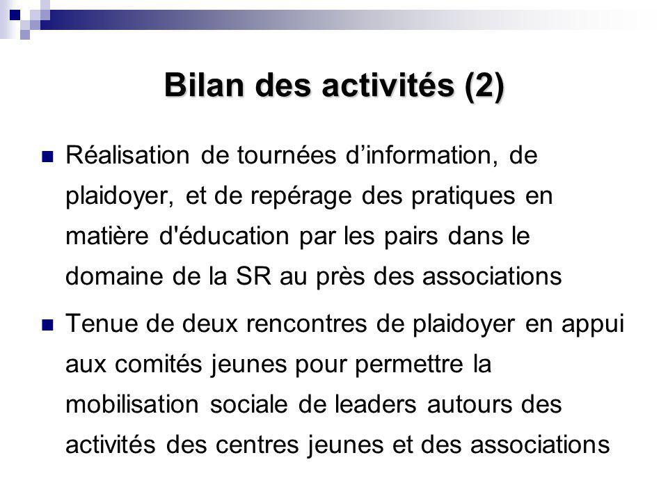 Bilan des activités (2) Réalisation de tournées d'information, de plaidoyer, et de repérage des pratiques en matière d'éducation par les pairs dans le