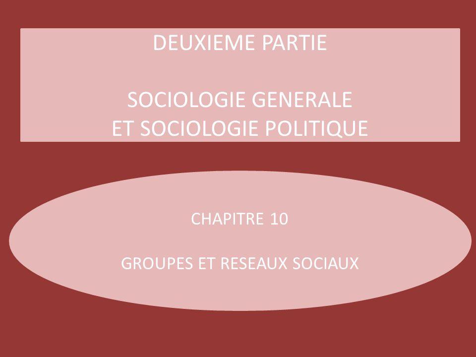 DEUXIEME PARTIE SOCIOLOGIE GENERALE ET SOCIOLOGIE POLITIQUE CHAPITRE 10 GROUPES ET RESEAUX SOCIAUX