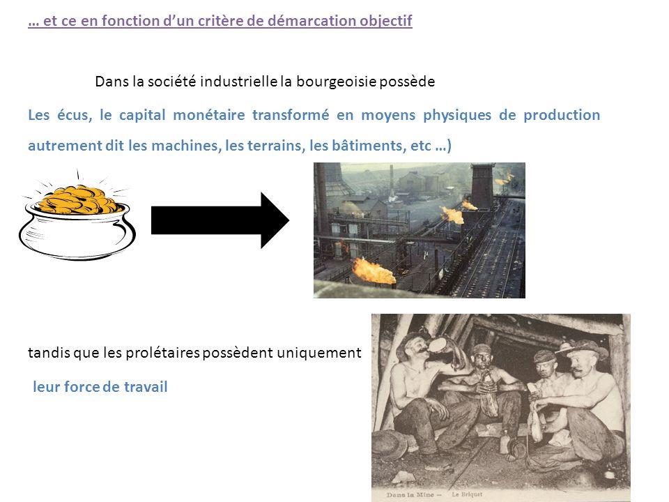 … et ce en fonction d'un critère de démarcation objectif Dans la société industrielle la bourgeoisie possède tandis que les prolétaires possèdent uniq