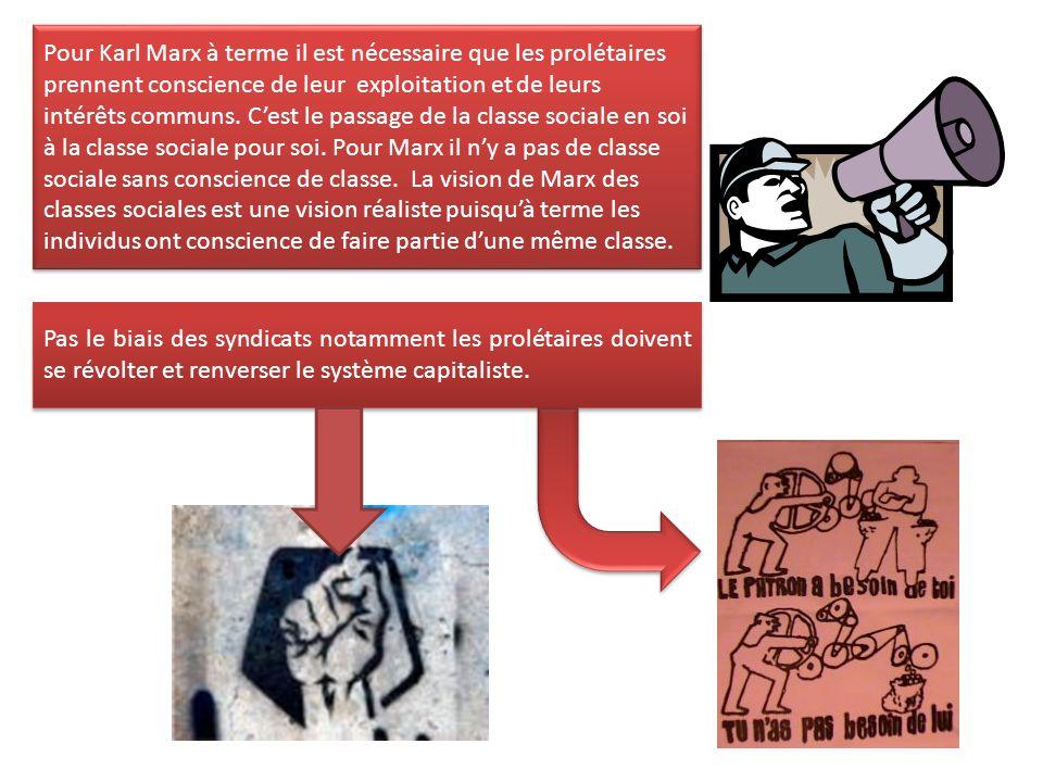 Pour Karl Marx à terme il est nécessaire que les prolétaires prennent conscience de leur exploitation et de leurs intérêts communs. C'est le passage d