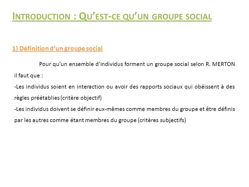 I NTRODUCTION : Q U ' EST - CE QU ' UN GROUPE SOCIAL 1) Définition d'un groupe social Pour qu'un ensemble d'individus forment un groupe social selon R