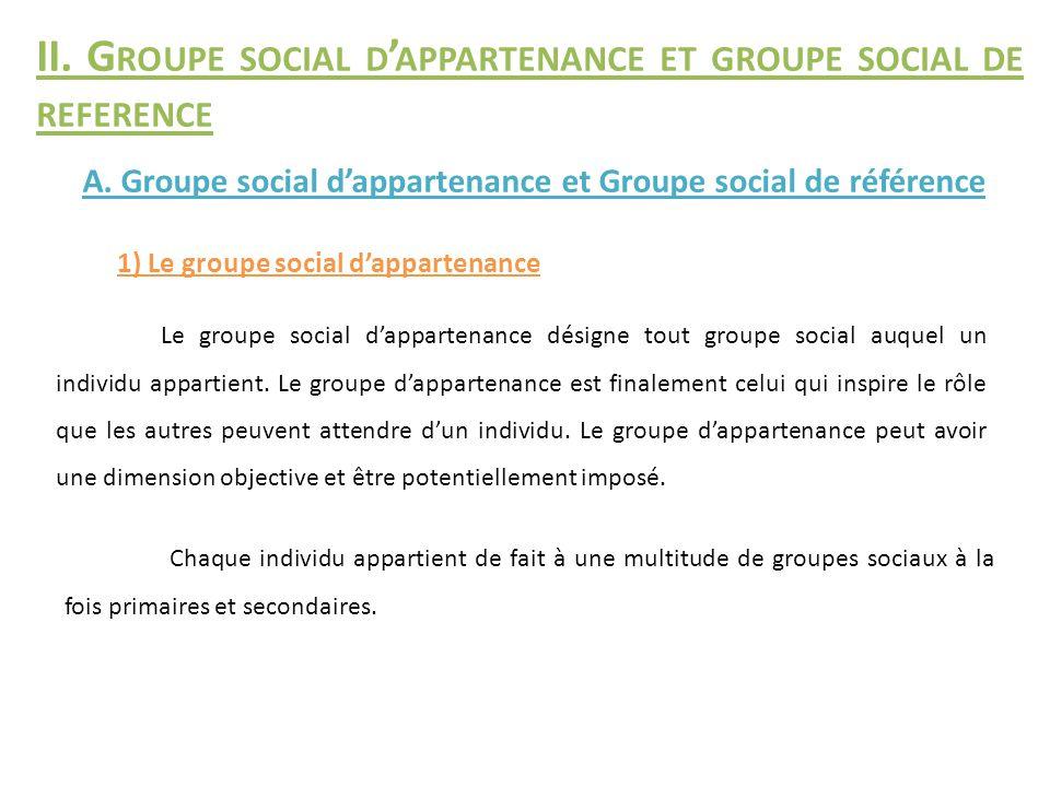 II. G ROUPE SOCIAL D ' APPARTENANCE ET GROUPE SOCIAL DE REFERENCE 1) Le groupe social d'appartenance A. Groupe social d'appartenance et Groupe social