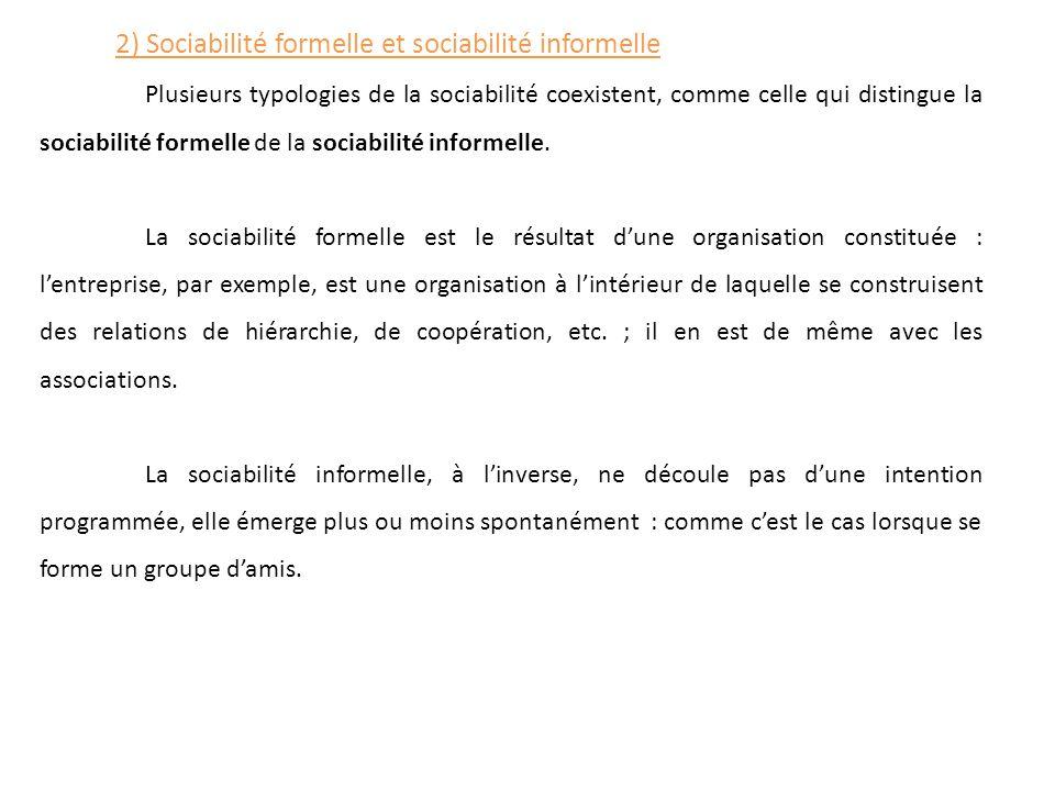 Plusieurs typologies de la sociabilité coexistent, comme celle qui distingue la sociabilité formelle de la sociabilité informelle. La sociabilité form
