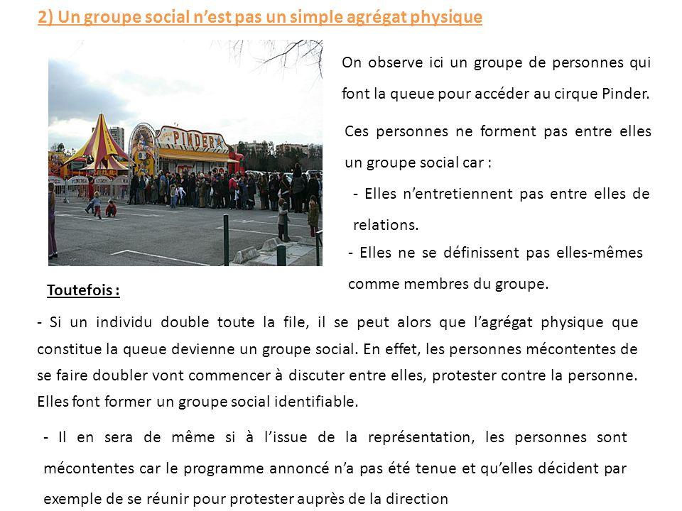 2) Un groupe social n'est pas un simple agrégat physique On observe ici un groupe de personnes qui font la queue pour accéder au cirque Pinder. Ces pe
