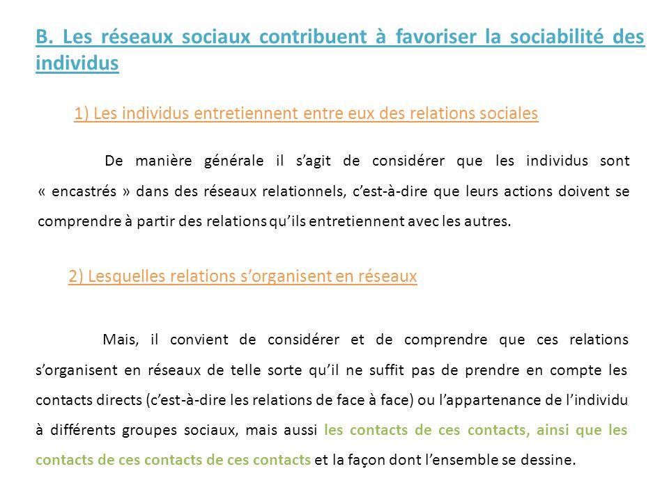1) Les individus entretiennent entre eux des relations sociales B. Les réseaux sociaux contribuent à favoriser la sociabilité des individus De manière