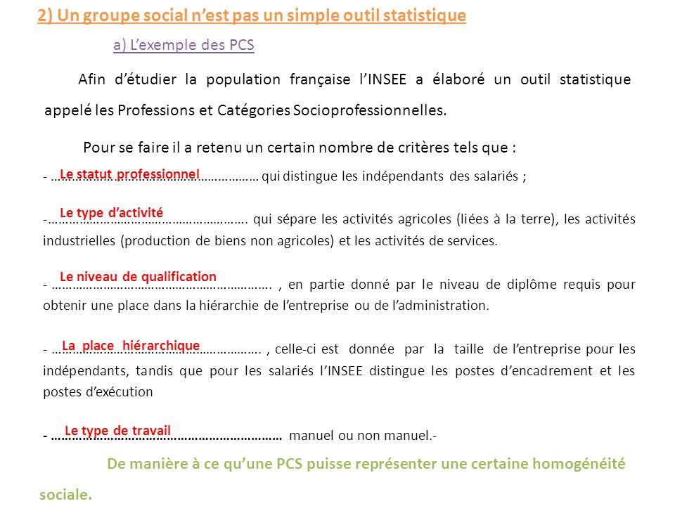 2) Un groupe social n'est pas un simple outil statistique Afin d'étudier la population française l'INSEE a élaboré un outil statistique appelé les Pro