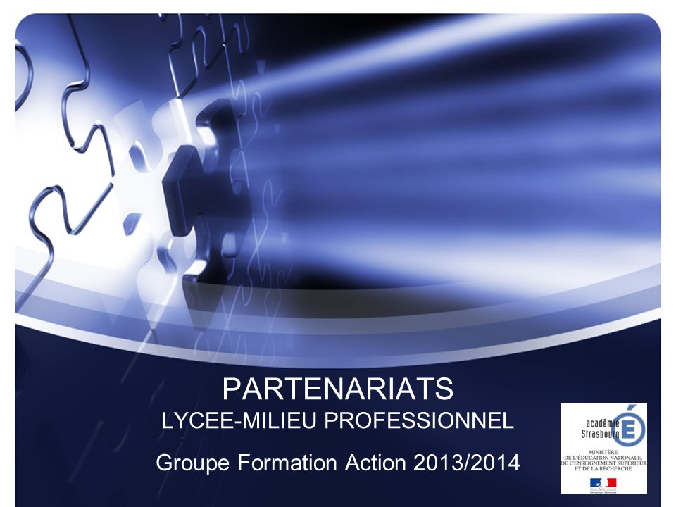 PARTENARIATS LYCEE-MILIEU PROFESSIONNEL Groupe Formation Action 2013/2014