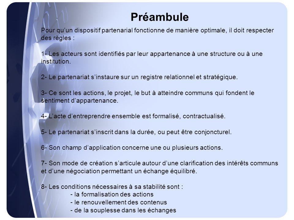 Préambule Pour qu'un dispositif partenarial fonctionne de manière optimale, il doit respecter des règles : 1- Les acteurs sont identifiés par leur appartenance à une structure ou à une institution.