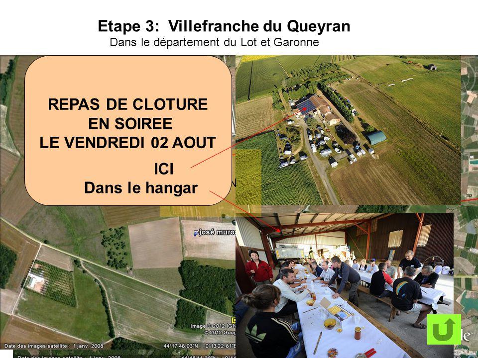 Etape 3: Villefranche du Queyran Dans le département du Lot et Garonne TERRAIN REPAS DE CLOTURE EN SOIREE LE VENDREDI 02 AOUT ICI Dans le hangar