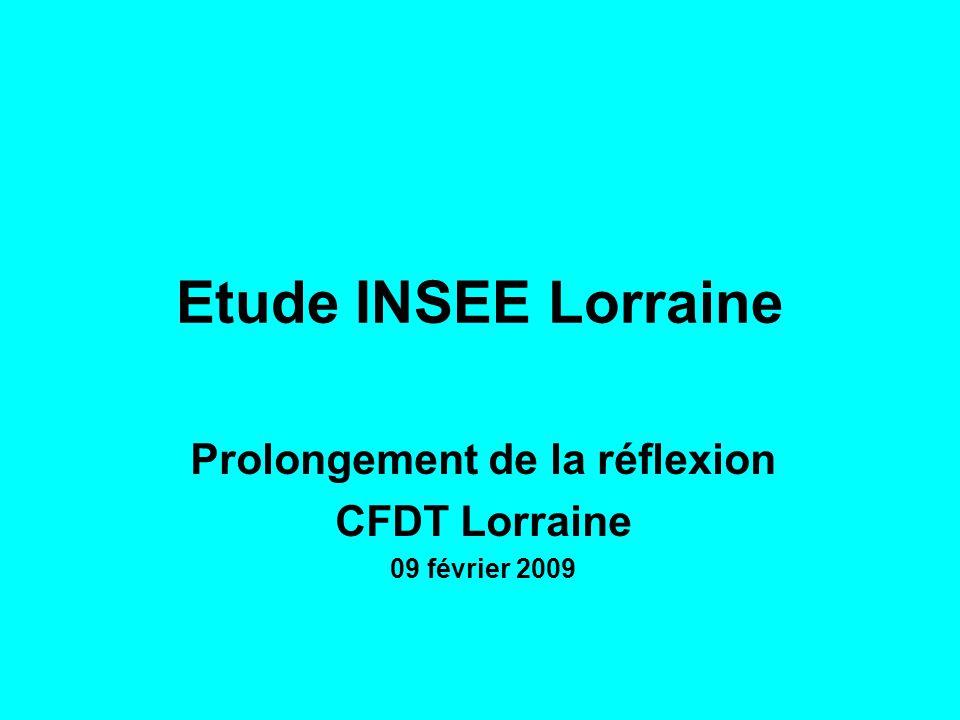 Etude INSEE Lorraine Prolongement de la réflexion CFDT Lorraine 09 février 2009