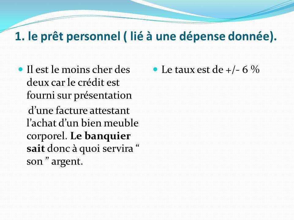 1. le prêt personnel ( lié à une dépense donnée).