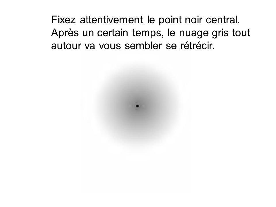 Fixez attentivement le point noir central.