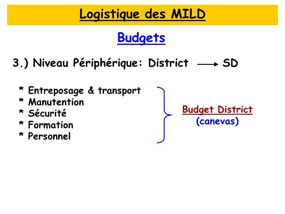 Budgets * Entreposage & transport * Manutention * Sécurité * Formation * Personnel Budget District Budget District (canevas) 3.) Niveau Périphérique: District SD Logistique des MILD