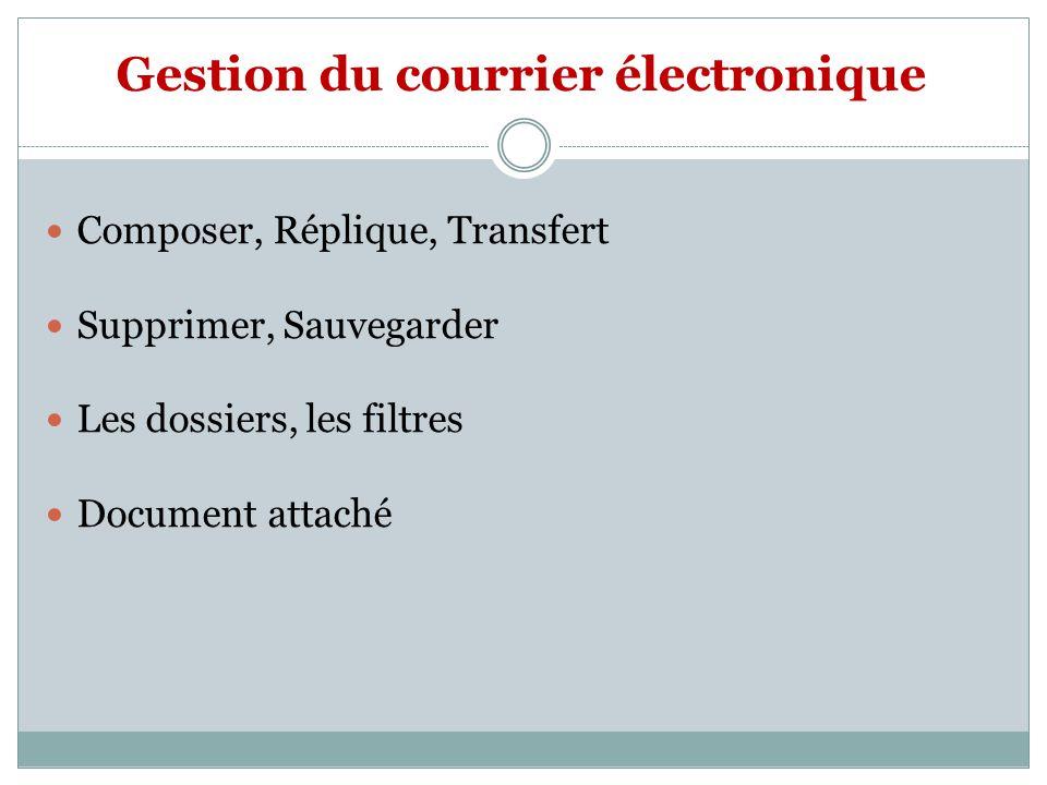 Gestion du courrier électronique Composer, Réplique, Transfert Supprimer, Sauvegarder Les dossiers, les filtres Document attaché