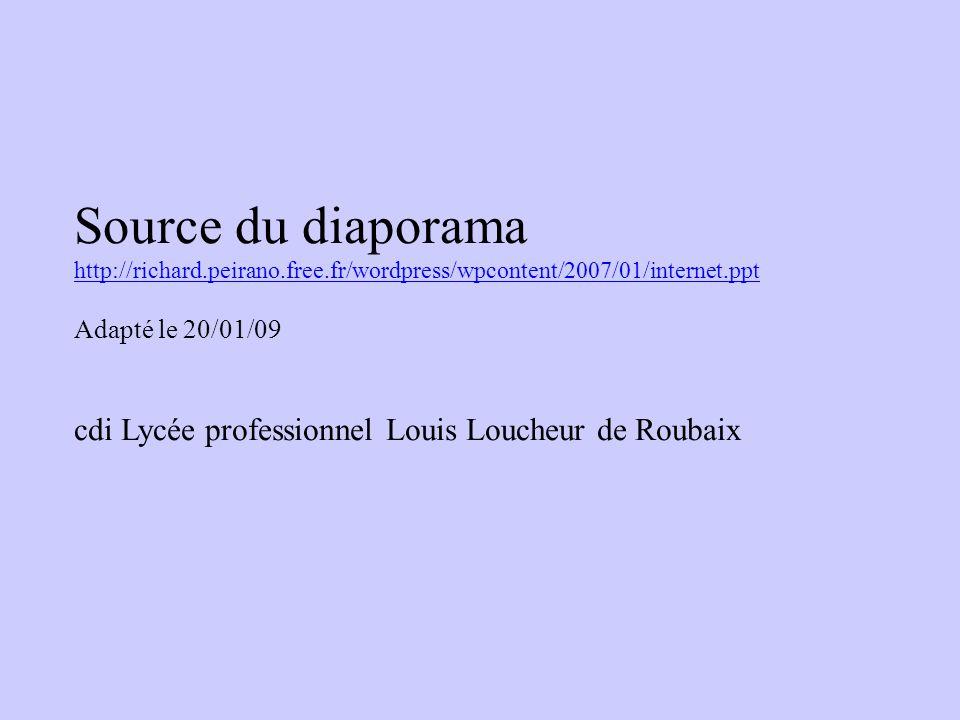 Source du diaporama http://richard.peirano.free.fr/wordpress/wpcontent/2007/01/internet.ppt Adapté le 20/01/09 cdi Lycée professionnel Louis Loucheur