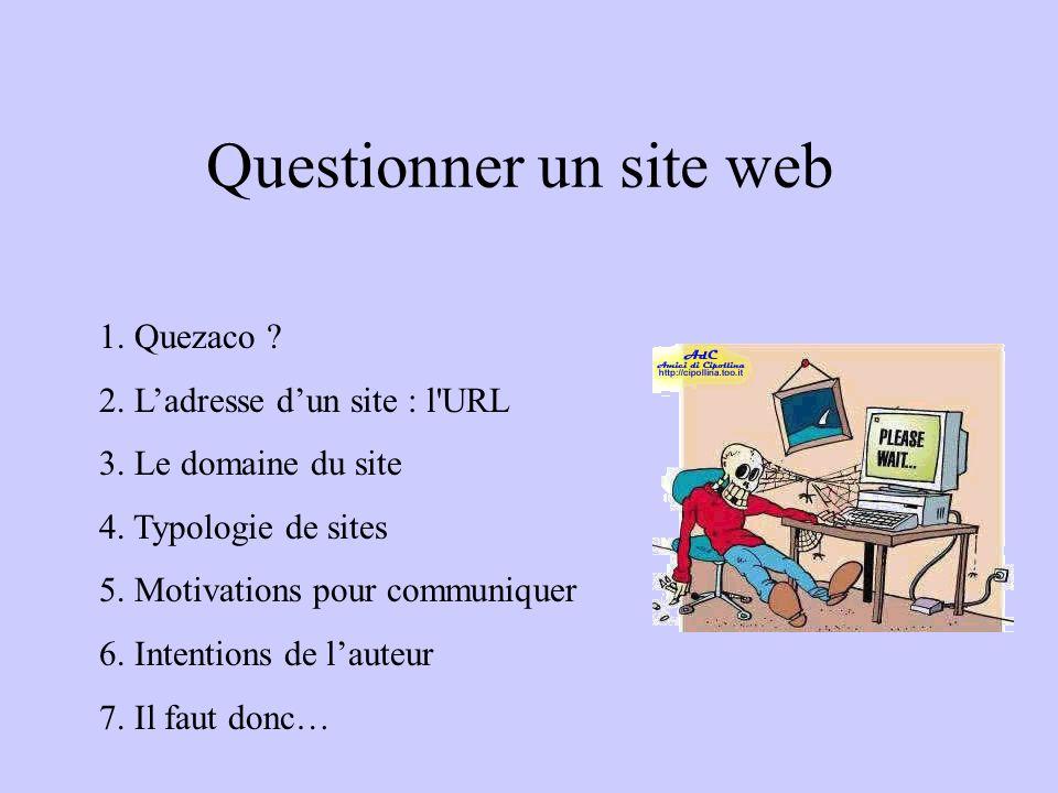 Questionner un site web 1. Quezaco ? 2. L'adresse d'un site : l'URL 3. Le domaine du site 4. Typologie de sites 5. Motivations pour communiquer 6. Int