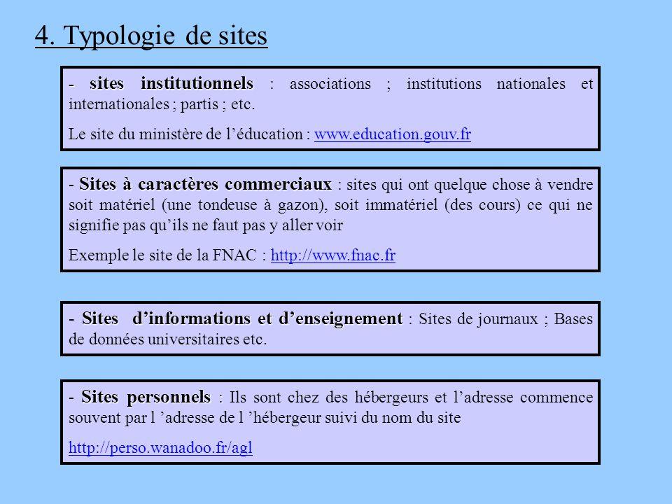 4. Typologie de sites - sites institutionnels - sites institutionnels : associations ; institutions nationales et internationales ; partis ; etc. Le s