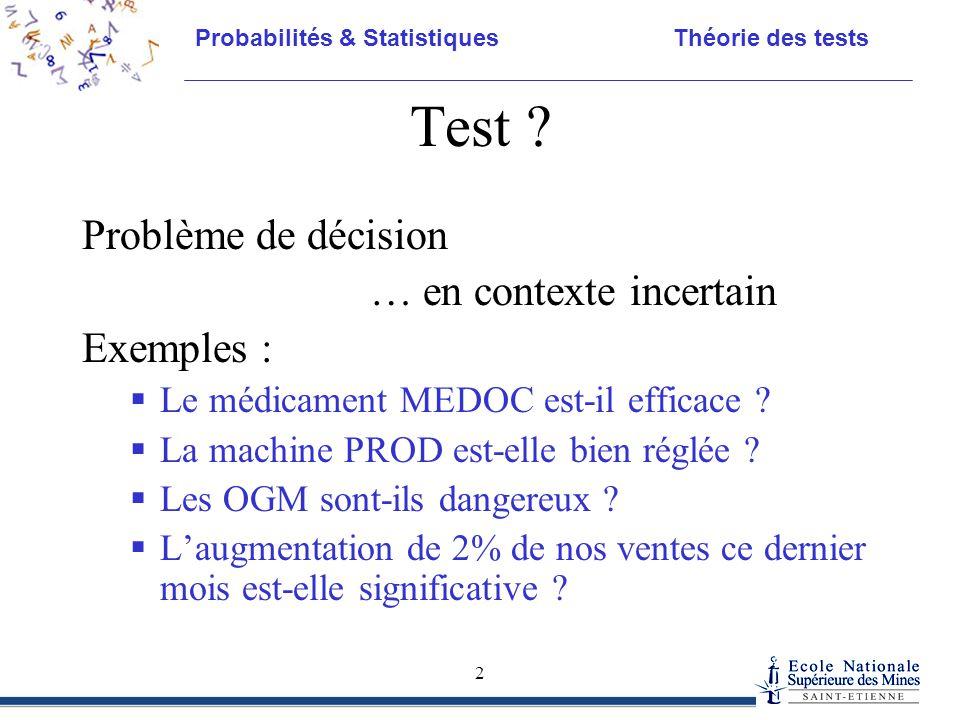 Probabilités & Statistiques Théorie des tests 2 Test ? Problème de décision … en contexte incertain Exemples :  Le médicament MEDOC est-il efficace ?