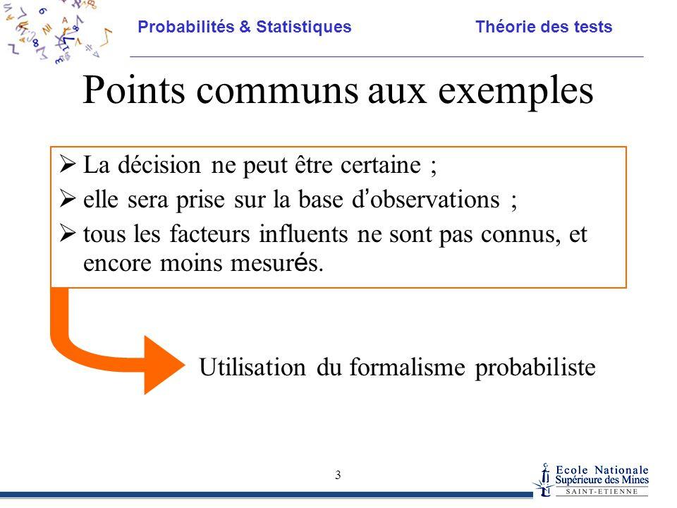 Probabilités & Statistiques Théorie des tests 3 Points communs aux exemples  La décision ne peut être certaine ;  elle sera prise sur la base d ' ob