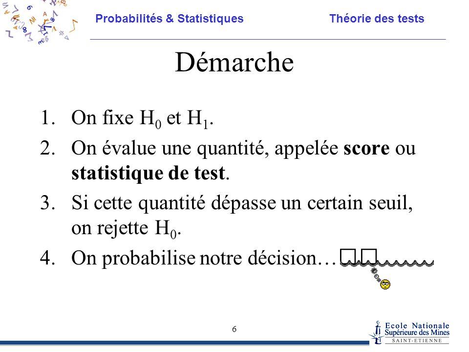 Probabilités & Statistiques Théorie des tests 6 Démarche 1.On fixe H 0 et H 1. 2.On évalue une quantité, appelée score ou statistique de test. 3.Si ce