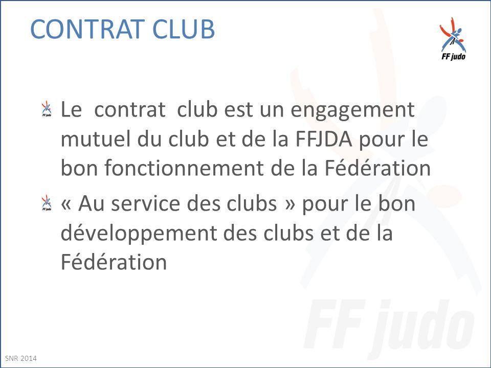 CONTRAT CLUB Le contrat club est un engagement mutuel du club et de la FFJDA pour le bon fonctionnement de la Fédération « Au service des clubs » pour le bon développement des clubs et de la Fédération SNR 2014