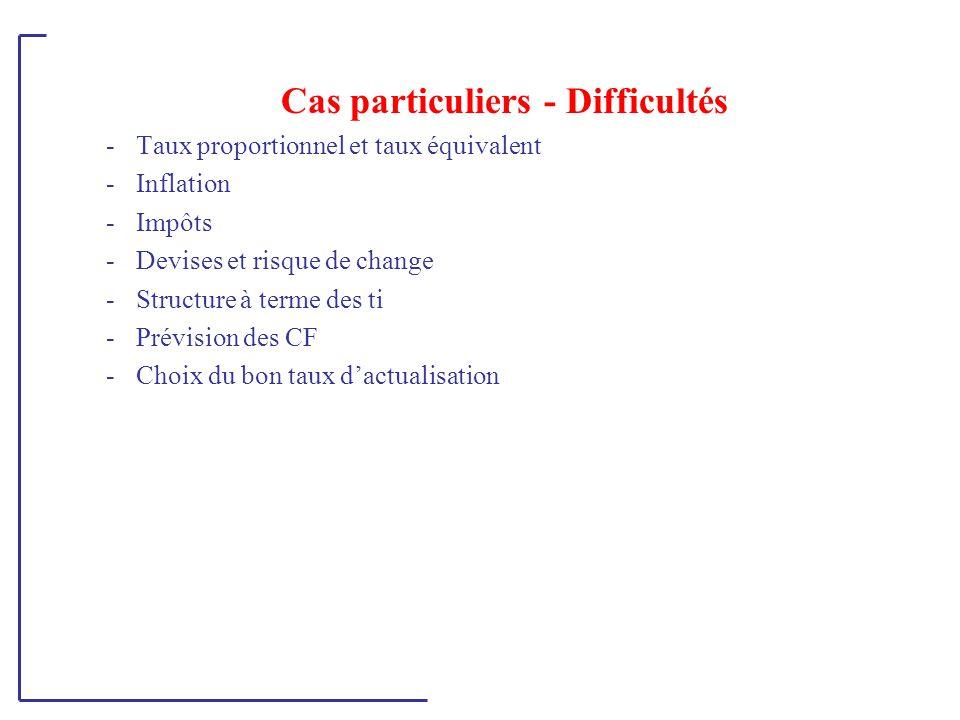Cas particuliers - Difficultés -Taux proportionnel et taux équivalent -Inflation -Impôts -Devises et risque de change -Structure à terme des ti -Prévi