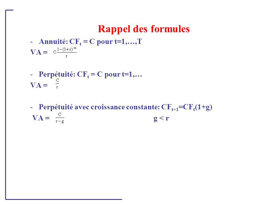 Rappel des formules -Annuité: CF t = C pour t=1,…,T VA = -Perpétuité: CF t = C pour t=1,… VA = -Perpétuité avec croissance constante: CF t+1 =CF t (1+