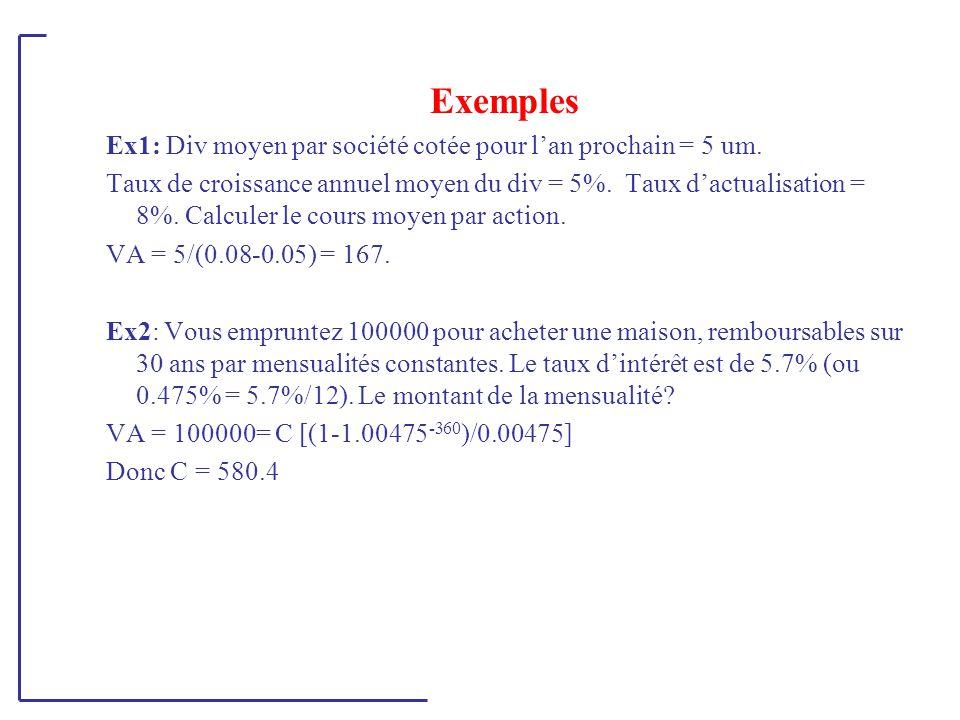 Exemples Ex1: Div moyen par société cotée pour l'an prochain = 5 um.