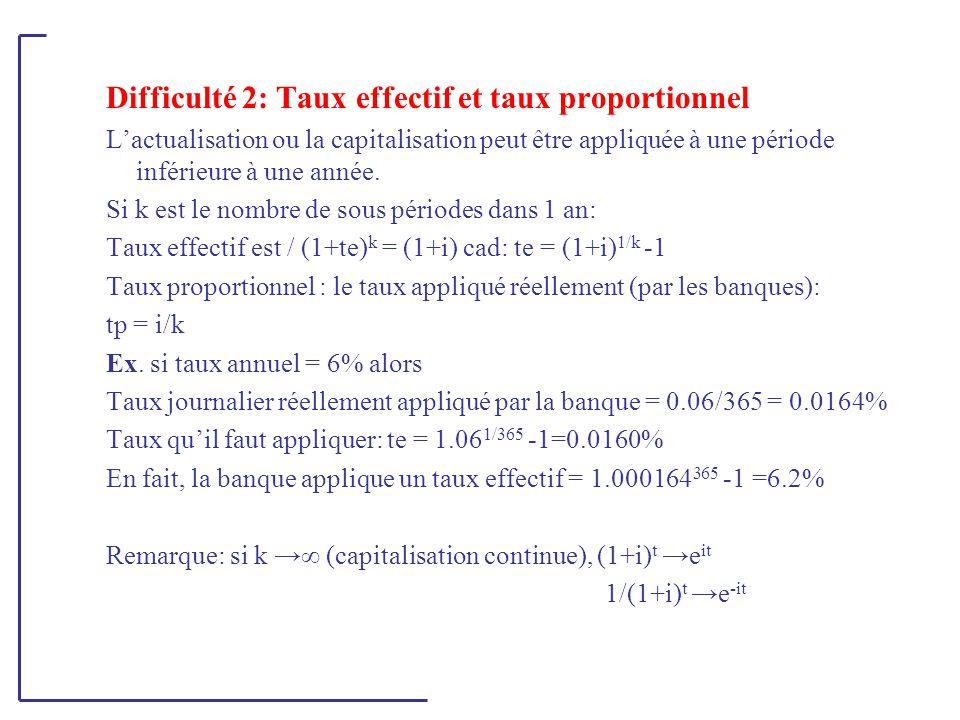 Difficulté 2: Taux effectif et taux proportionnel L'actualisation ou la capitalisation peut être appliquée à une période inférieure à une année. Si k