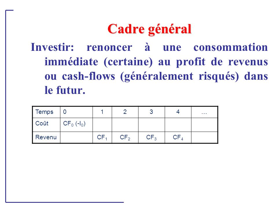 Cadre général Investir: renoncer à une consommation immédiate (certaine) au profit de revenus ou cash-flows (généralement risqués) dans le futur.