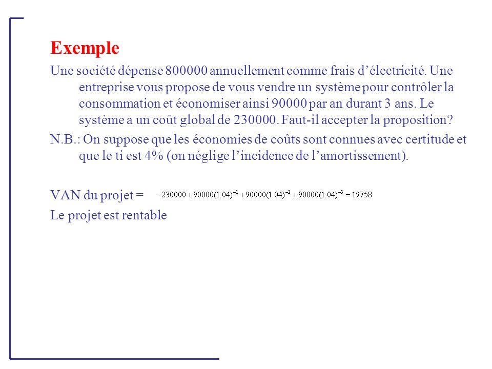Exemple Une société dépense 800000 annuellement comme frais d'électricité. Une entreprise vous propose de vous vendre un système pour contrôler la con