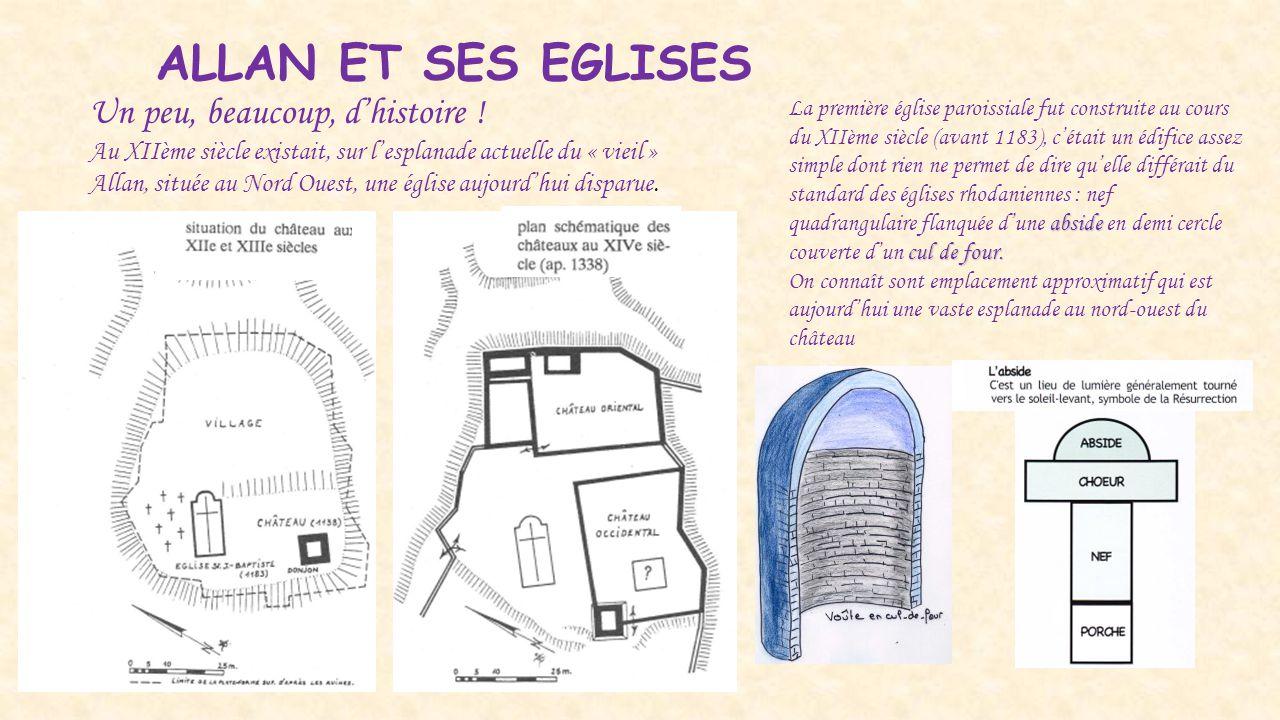 ALLAN ET SES EGLISES Un peu, beaucoup, d'histoire ! Au XIIème siècle existait, sur l'esplanade actuelle du « vieil » Allan, située au Nord Ouest, une