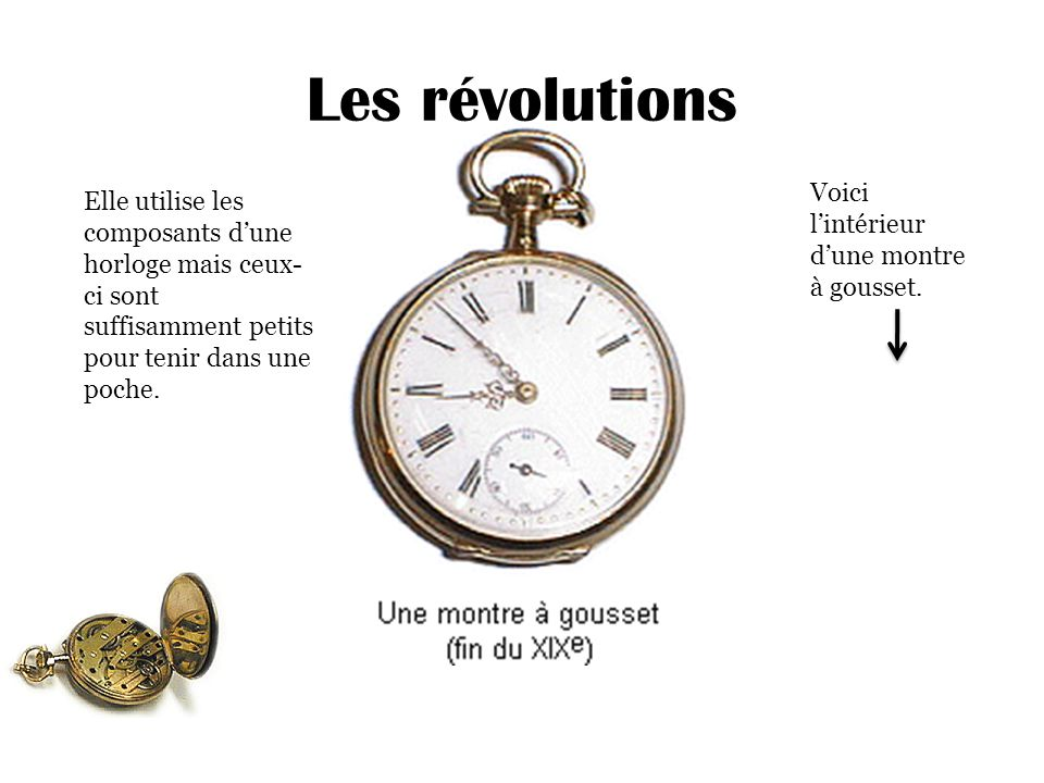 Les révolutions Elle utilise les composants d'une horloge mais ceux- ci sont suffisamment petits pour tenir dans une poche. Voici l'intérieur d'une mo