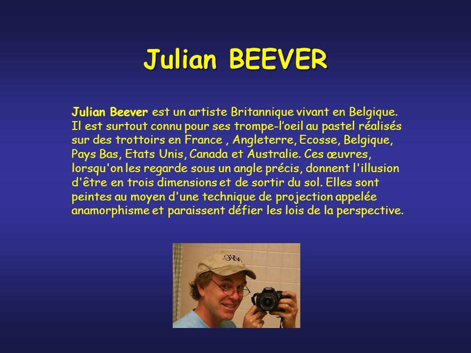 Julian BEEVER Julian Beever est un artiste Britannique vivant en Belgique. Il est surtout connu pour ses trompe-l'oeil au pastel réalisés sur des trot