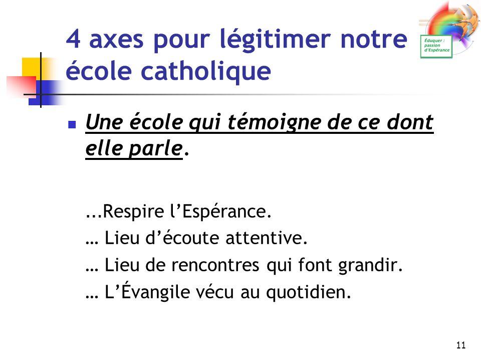 11 4 axes pour légitimer notre école catholique Une école qui témoigne de ce dont elle parle. … Respire l'Espérance. … Lieu d'écoute attentive. … Lieu