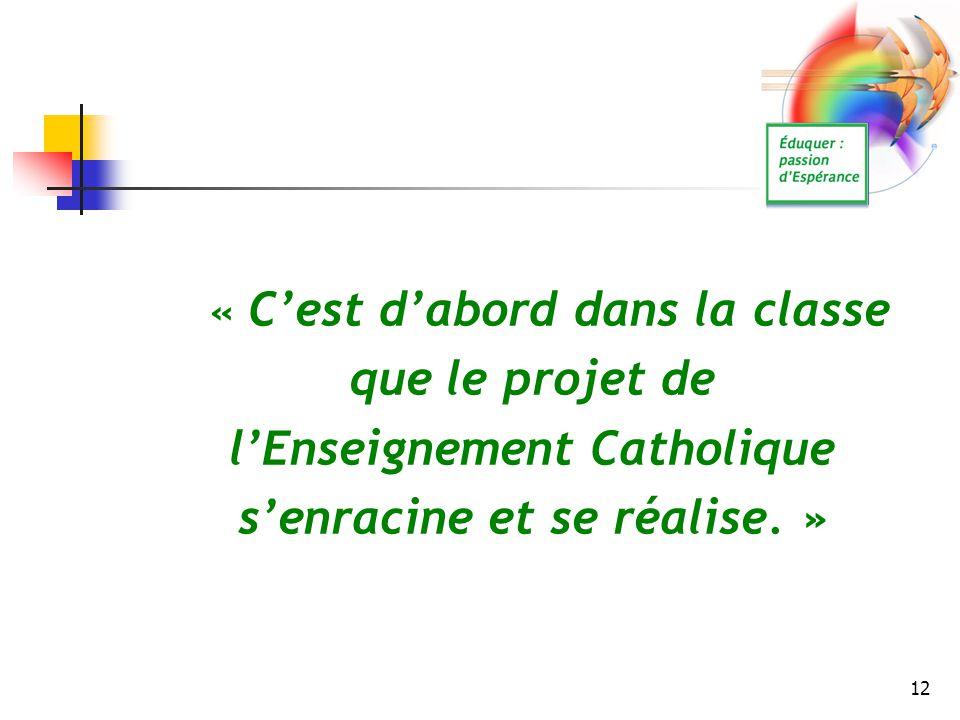 12 « C'est d'abord dans la classe que le projet de l'Enseignement Catholique s'enracine et se réalise. »