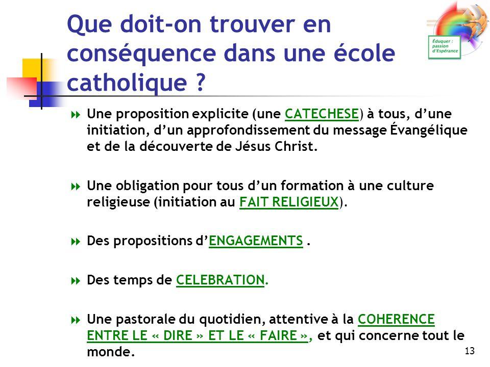 13 Que doit-on trouver en conséquence dans une école catholique ? UUne proposition explicite (une CATECHESE) à tous, d'une initiation, d'un approfon