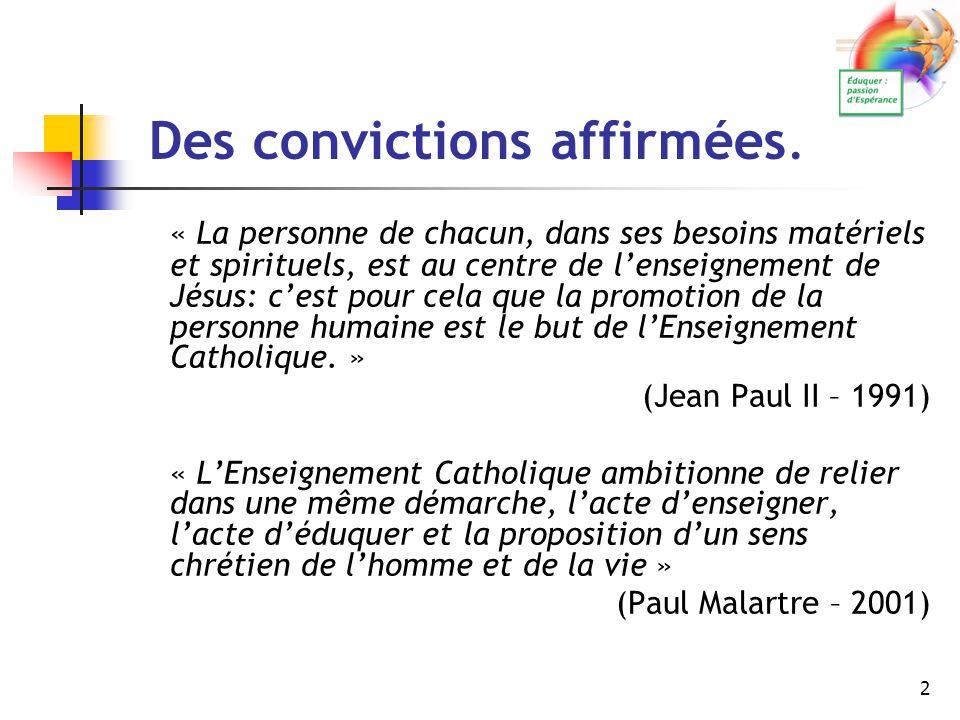 3 Des convictions affirmées.