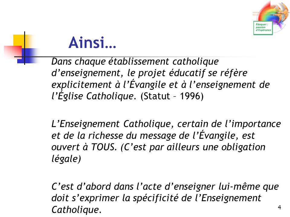 4 Ainsi… Dans chaque établissement catholique d'enseignement, le projet éducatif se réfère explicitement à l'Évangile et à l'enseignement de l'Église