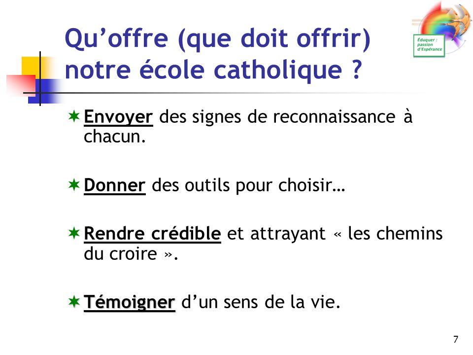 7 Qu'offre (que doit offrir) notre école catholique ? EEnvoyer des signes de reconnaissance à chacun. DDonner des outils pour choisir… RRendre c