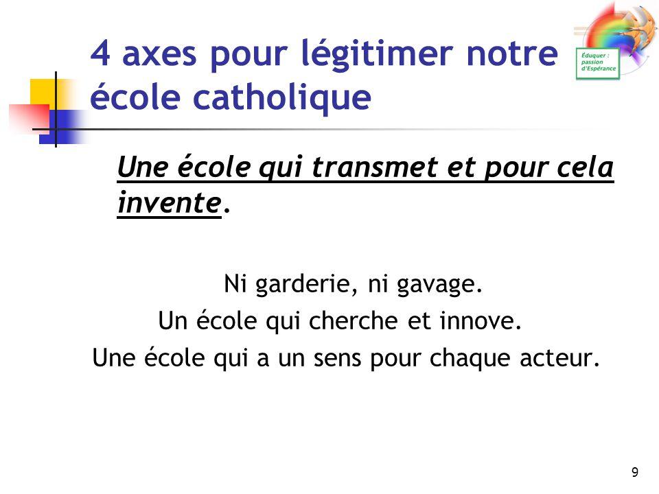 9 4 axes pour légitimer notre école catholique Une école qui transmet et pour cela invente. Ni garderie, ni gavage. Un école qui cherche et innove. Un