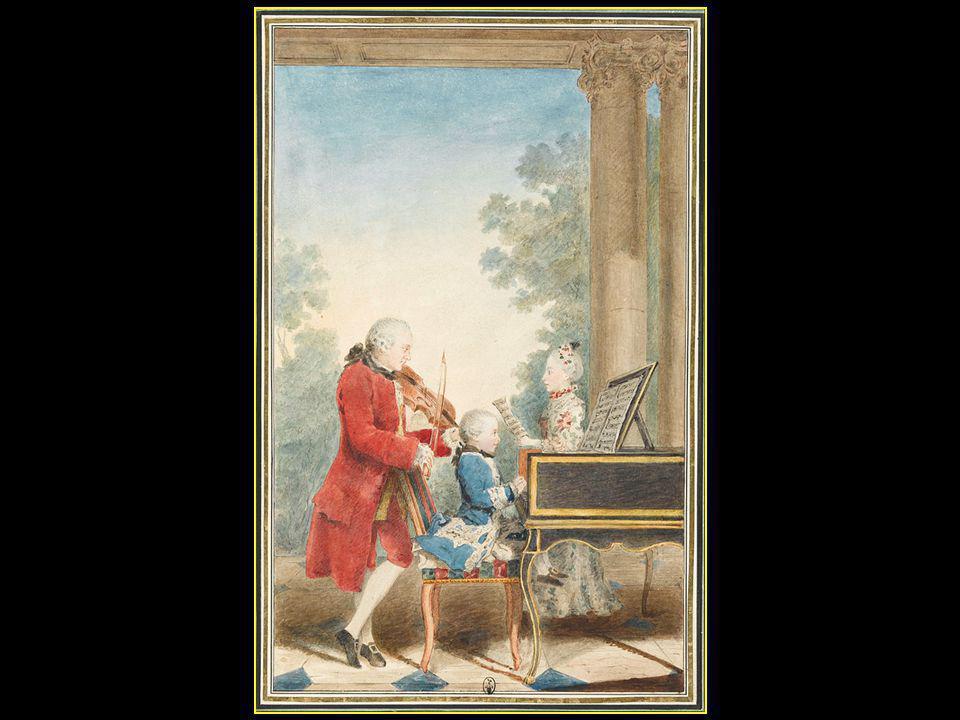 La famille Mozart en concert en 1764 Le père Léopold Wolgang au clavecin Maria Anna dite Nannerl la fille de Léopold et sœur de Wolgang Amadé