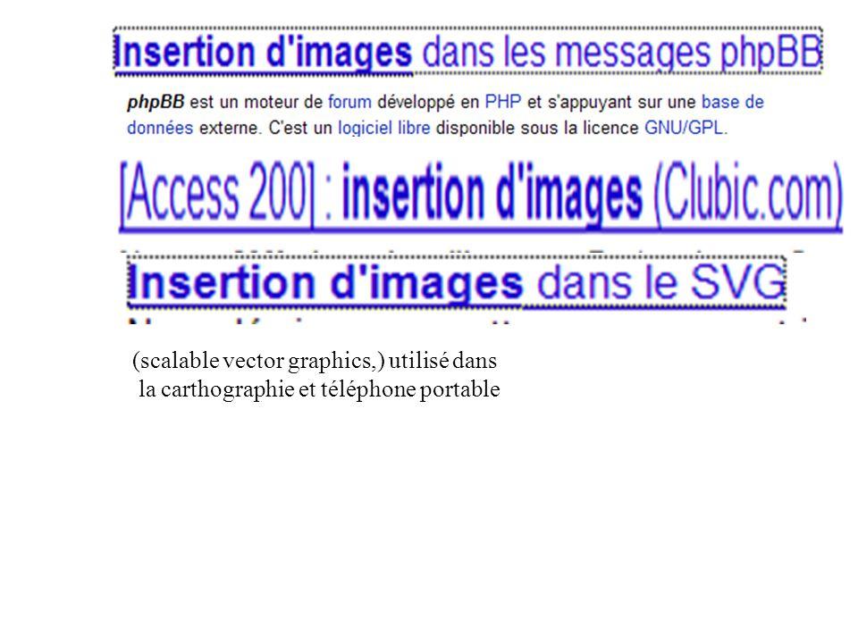 (scalable vector graphics,) utilisé dans la carthographie et téléphone portable