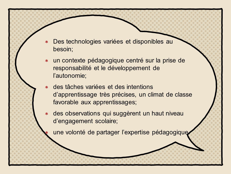 Des technologies variées et disponibles au besoin; un contexte pédagogique centré sur la prise de responsabilité et le développement de l'autonomie; des tâches variées et des intentions d'apprentissage très précises, un climat de classe favorable aux apprentissages; des observations qui suggèrent un haut niveau d'engagement scolaire; une volonté de partager l'expertise pédagogique.